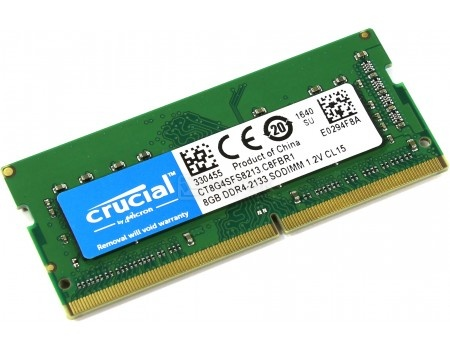 Модуль памяти Crucial SO-DIMM DDR4 8GB PC4-17000 2133MHz, single rank, CT8G4SFS8213