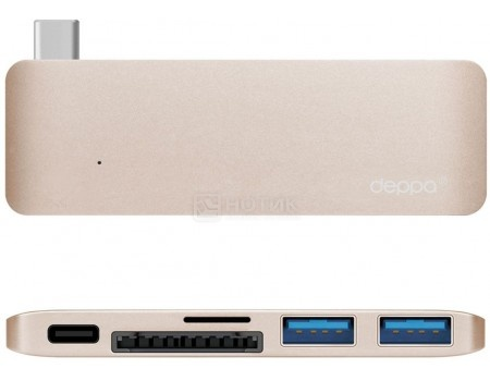 Фотография товара адаптер USB Type-C для Macbook, Deppa 72219, 5  в 1, 1xUSB 3.1 Type-C, 2xUSB.3.0, Кардридер - microSDHC/SDHC, Золотистый (51984)