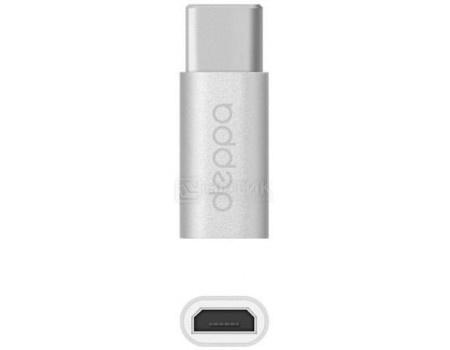 Переходник Deppa 73114  microUSB/USB Type-C, 3А, Серебристый переходник для sim карт система хранения цвет белый deppa 74001
