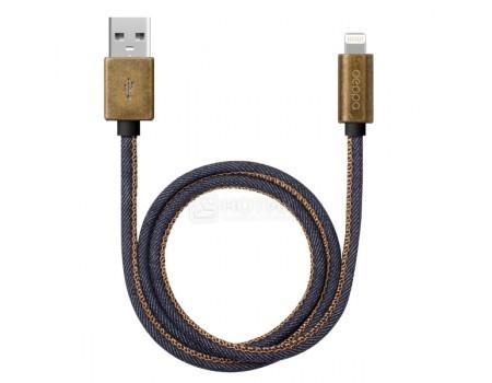 Кабель Deppa Jeans 72275, USB/Lightning, MFI, медь/джинса, 2,4A, 1,2м, Синий