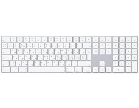 Картинка для Клавиатура беспроводная Apple Magic Keyboard с цифровой панелью, Bluetooth/Wireless, Белый/Серебристый MQ052RS/A