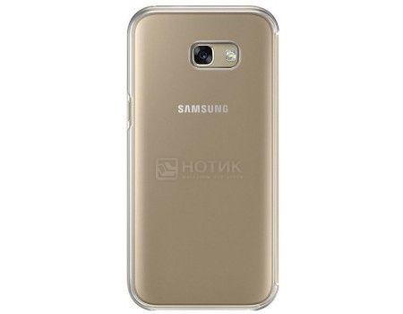 Чехол-книжка Samsung Clear View Cover для Samsung Galaxy A5 2017, Полиуретан/Поликарбонат, Gold, Золотистый, EF-ZA520CFEGRU samsung ef za510czegru для galaxy a5 2016 clear view pink gold