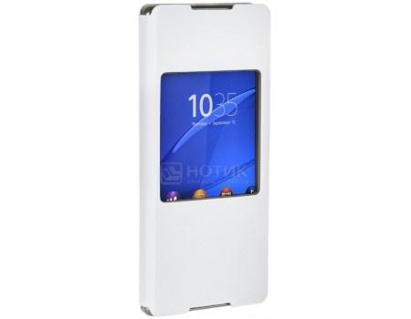 Фотография товара чехол-книжка Sony SCR30 White для Xperia Z3+ с окошком, Полиуретан, Белый (52412)