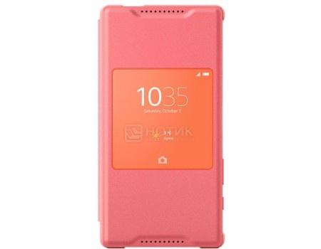 Чехол-книжка Sony SCR44 Сoral для Xperia Z5 Compact с окошком, Пластик, Розовый