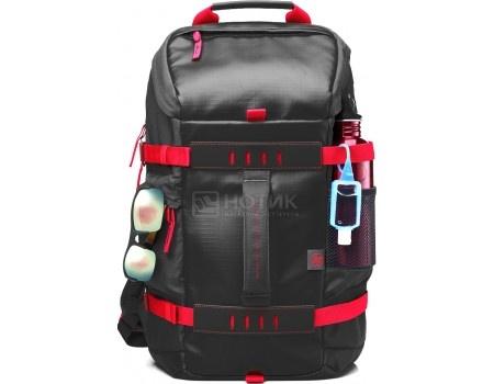 """Рюкзак 15.6"""" HP Black Odyssey Backpack, X0R83AA, Полиэстер, Черный/Красный"""