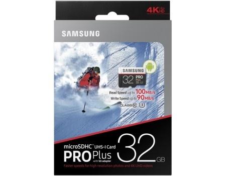 Карта памяти Samsung microSD 32GB PRO Plus UHS-I + SD адаптер MD32GA/RU
