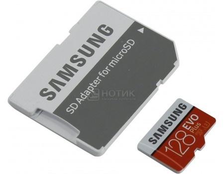 Карта памяти Samsung microSDXC 128GB EVO PLUS microSDXC Class 10 UHS-I, U3 + SD адаптер MB-MC128GA/RU