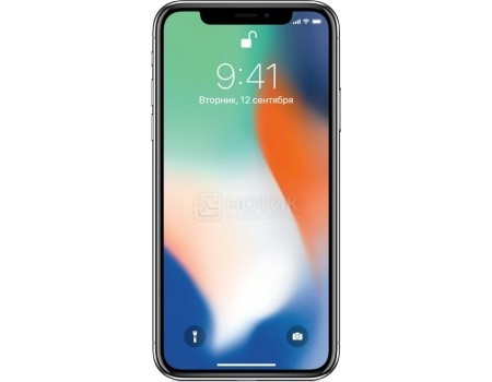 Смартфон Apple iPhone X 64Gb Silver (iOS 11/A11 Bionic 2400MHz/5.8* 2436x1125/3072Mb/64Gb/4G LTE ) [MQAD2RU/A], арт: 54247 - Apple