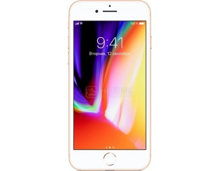 "Фотография товара смартфон Apple iPhone 8 64Gb Gold (iOS 11/A11 Bionic 2400MHz/4.7"" 1334x750/2048Mb/64Gb/4G LTE ) [MQ6J2RU/A] (54253)"