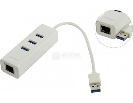 Сетевой адаптер TP-Link Gigabit Ethernet UE330 , USB to RJ-45, 3xUSB 3.0, 10/100/1000Мбит/с, Белый