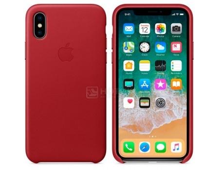 Чехол-накладка Apple Leather Case Red для iPhone X MQTE2ZM/A, Кожа, Красный, арт: 54631 - Apple