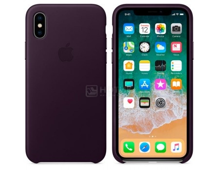 Чехол-накладка Apple Leather Case Dark Aubergine для iPhone X MQTG2ZM/A, Кожа, Фиолетовый