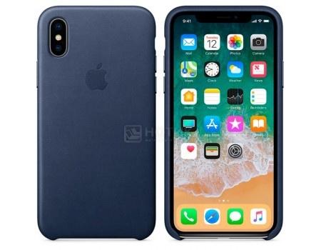 Чехол-накладка Apple Leather Case Midnight Blue для iPhone X MQTC2ZM/A, Кожа, Темно-синий, арт: 54642 - Apple