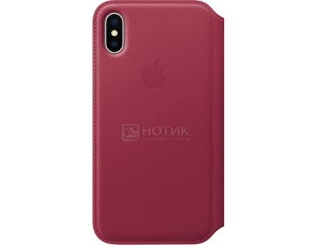 Чехол-книжка Apple Leather Folio Berry для iPhone X MQRX2ZM/A, Кожа, Красный