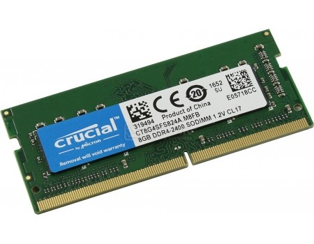 Модуль памяти Crucial SO-DIMM DDR4 8192Mb PC4-19200 2400MHz 1.2V, CL17, CT8G4SFS824A, арт: 54854 - Crucial