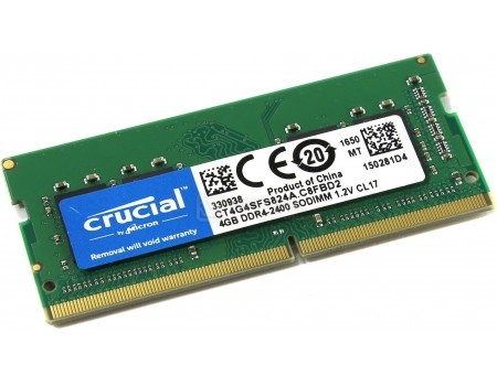 Модуль памяти Crucial SO-DIMM DDR4 4096Mb PC4-19200 2400MHz 1.2V, CL17, CT4G4SFS824A, арт: 55430 - Crucial