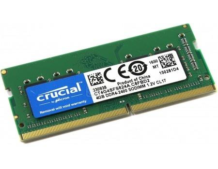Модуль памяти Crucial SO-DIMM DDR4 4ГБ PC4-19200 2400MHz 1.2V, CL17, CT4G4SFS824A фото