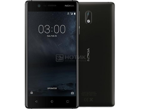 Смартфон Nokia 3 DS 16Gb Black (Android 7.1 (Nougat)/MT6737 1400MHz/5.0* 1280x720/2048Mb/16Gb/4G LTE ) [11NE1B01A09], арт: 56134 - Nokia