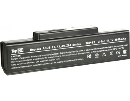 Аккумулятор TopON TOP-F3/TOP-A9 11.1V 4400mAh для Asus, MSI, RoverBook, Depo PN: A32-F3 A32-Z94 A32-F2 A32-K72 A32-N71 90-NFY6B1000Z, арт: 56980 - TopON