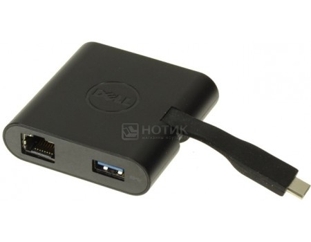 Фотография товара док-станция Dell DA200 USB Type-C to HDMI/ VGA/ Ethernet/ USB 3.0, Черный, 470-ABRY (57936)
