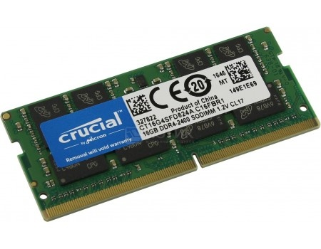 Модуль памяти Crucial SO-DIMM DDR4 16384Mb PC4-19200 2400MHz 1.2V, CL17, CT16G4SFD824A, арт: 58941 - Crucial
