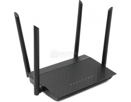 Маршрутизатор ASUS RT-AC1200, 4xLAN, 1xWAN, WiFi 802.11n до 300 Мбит/с / 867 Мбит/с (2,4 и 5 ГГц), 1xUSB 2.0, 4 антенны, 10/100/BASE-TX, Черный