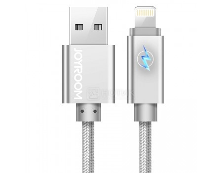 Фотография товара кабель JOYROOM, USB - Lightning 8-pin, 1.68м, Fabric braided LED Series, Серебристый S-Q3 Silver (60173)