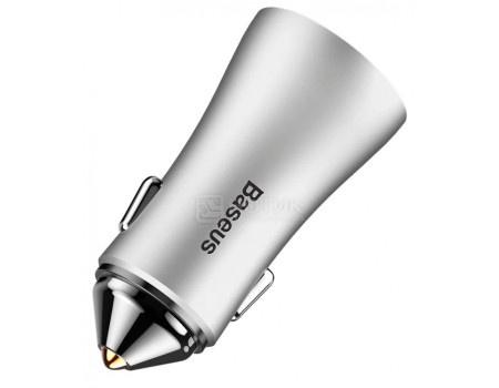 Картинка для Автомобильное зарядное устройство Baseus, 2xUSB 2.4A, Серебристый CCALL-DZ0S Silver