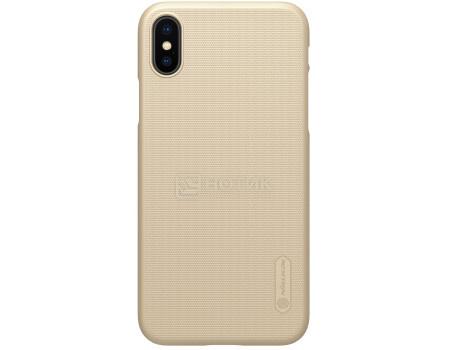 Фотография товара чехол-накладка Nillkin Super Frosted Shield для iPhone X/XS, T-N-AIX-002, Пластик, Золотистый 6902048146280 (62858)