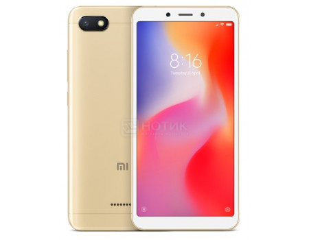 "Смартфон Xiaomi Redmi 6A 16Gb Gold (Android 8.1 (Oreo)/MT6762M 2000MHz/5.45"" 1440x720/2048Mb/16Gb/4G LTE ) [X18988]"