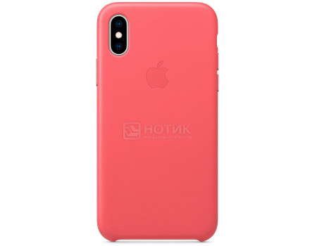 Фотография товара чехол-накладка Apple Leather Case Peony Pink для iPhone XS MTEU2ZM/A, Кожа, Розовый (63534)