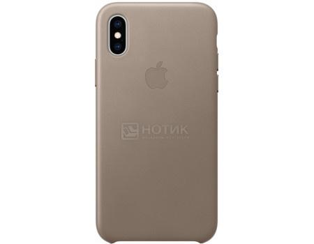 Чехол-накладка Apple Leather Case Taupe для iPhone XS MRWL2ZM/A, Кожа, Светло-серый фото