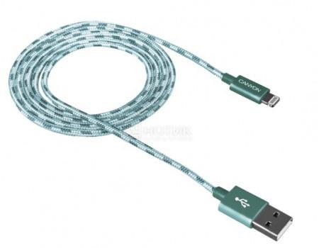 Кабель Canyon, USB - Lightning 8-pin, оплетка нейлон, 1м, Зеленый CNE-CFI3G фото