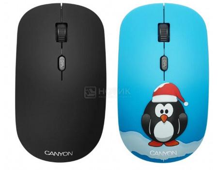 Мышь беспроводная Canyon CND-CMSW401PG, 1600dpi, Рисунок (две накладки: черный и пингвин) CND-CMSW401PG фото