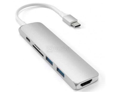 Док-станция Satechi Aluminum Type-C Slim Multi-Port Adapter V2 (2xUSB 3.0, USB Type-C, HDMI, SD, micro-SD), Серебристый ST-SCMA2S фото