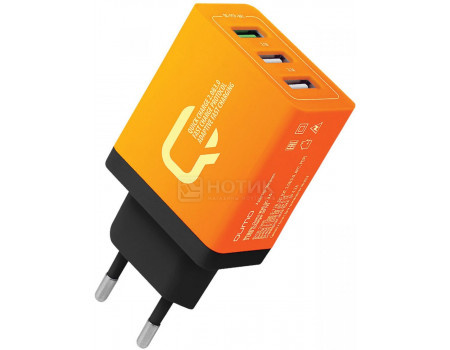 Сетевое зарядное устройство Qumo Charger 0019, 3xUSB (2.4A/ 2.1A/ 2.1A) Оранжевый Charger0019ORG фото