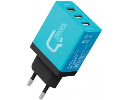 Сетевое зарядное устройство Qumo Charger 0019, 3xUSB (2.4A/ 2.1A/ 2.1A) Синий Charger0019Blue фото