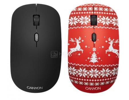 Мышь беспроводная Canyon CND-CMSW400JR, 1600dpi, Рисунок (две накладки: черный и Christmas Mood) CND-CMSW400JR