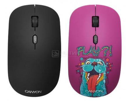 Мышь беспроводная Canyon CND-CMSW400PL, 1600dpi, Рисунок (две накладки: черный и Play) CND-CMSW400PL
