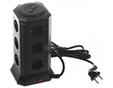 Сетевой фильтр Qumo Power Tower Pro, 12SP5U (P-0001) 12 розеток, 2м Черный фото