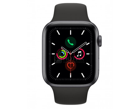 Смарт-часы Apple Watch Series 5 Aluminum Case 40mm Space Gray Серый космос (Черный спортивный ремешок) MWV82RU/A.