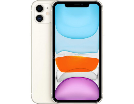 "Смартфон Apple iPhone 11 128Gb White (iOS 14/A13 Bionic 2650MHz/6.10"" 1792x828/4096Mb/128Gb/4G LTE ) [MHDJ3RU/A]"