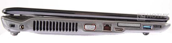 Ноутбук Asus N61JQ левая грань в закрытом состоянии